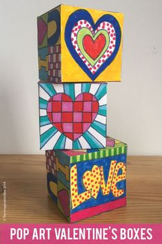 Valentines Day Activity - Pop Art Gift Box and Card Valentines Art Lessons, Valentines Day Activities, Easy Art Projects, Arts And Crafts Projects, Foam Crafts, Pop Art For Kids, Art Activities For Kids, Art Plastique, Elementary Art