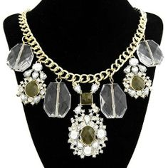 Stunning Big Gem Stone Crystal Statement Necklace - Brand New