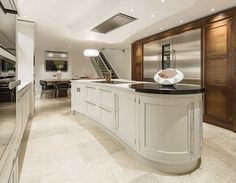 Create the perfect kitchen for entertaining with this contemporary shaker kitchen featuring statement island and glass fronted cabinetry. Kitchen And Bath Design, Kitchen Paint, Kitchen Cupboards, Interior Design Kitchen, New Kitchen, Kitchen Decor, Kitchen Ideas, Kitchen Inspiration, Kitchen Designs