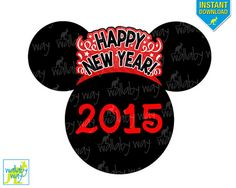 Disney 2015 New Year's Printable Iron On Transfer or use as Disney Clipart by TheWallabyWay, DIY Disney Shirt, New Years Eve, Minnie, Mickey head Disney Happy New Year, Disney New Years Eve, New Years Eve 2017, Happy New Year 2015, Disney Diy, Disney 2015, Disney Trips, Walt Disney, Christmas Travel