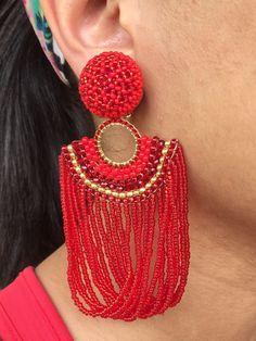 beaded jewellry red stud earrings, tassel earrings, clip on earrings Diy Tassel Earrings, Red Earrings, Beaded Earrings, Fashion Earrings, Earrings Handmade, Handmade Jewelry, Fashion Jewelry, Seed Bead Jewelry, Seed Bead Earrings