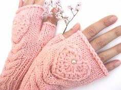May just have to purchase these! TENDER LOVE   Pink Fingerless Gloves with a  HEART by Rumina.