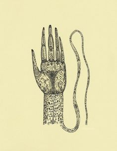 Print from my Original Ink Drawing on Paper. by elsita on Etsy  --  Title: The Hand and The Rope