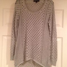 Rock & Republic Silver/Grey Sweater Super cute Rock & Republic silver/grey sweater. Has holes in the knit, so you would need to wear something under it, but super cute! Has a slight sparkle to it. Size M, scoop neck. Rock & Republic Sweaters Crew & Scoop Necks