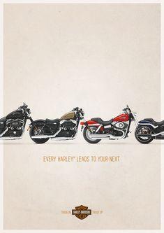 """「あなたの大切なバイクは、次のオーナーに繋がっています。」ハーレーダビッドソンの""""刺さる""""広告。イギリスのロンドンで実施された、大型バイクの代名詞Harley-Davidsonのプリント広告。  同ブランドが行っている「下取り買い替えサービス」を訴求すべく制作したクリエイティブです。   ハーレーの前輪が、それぞれ前の後輪とつながって一つになっているというビジュアル。  「下取り買い替えサービス」という単なるサービスを、「あなたのハーレーは、次の誰かのハーレーになる」という情緒的価値に置き換えてメッセージングしました。  コピーは…  """"EVERY HARLEY LEADS TO YOUR NEXT."""" (すべてのハーレーは、あなたの次のオーナーに繋がっています。)  無機質なサービスの内容を、エモーショナルな切り口から訴求することでハーレーのオーナーに""""刺さる""""メッセージをつくることに成功したプリント広告"""
