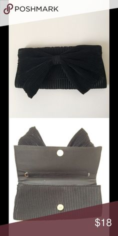Black Bow Clutch Cute clutch with black bow. Perfect for formal event! Never been used. Bags Clutches & Wristlets