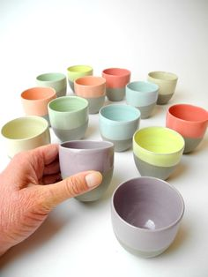 Espresso cups grey with lilac purple set of 2.