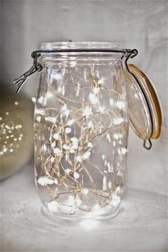 Fairy lights in mason jar or candles in them for table decor? Fairy lights in mason jar or candles in them for table decor? Fairy Lights In A Jar, Jar Lights, Led String Lights, Twinkle Lights, Lantern Fairy Lights, Mason Jar With Lights, Candles In Jars, Lights In Trees, Outdoor Fairy Lights