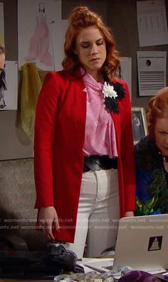 Sally's red coat, pink blouse and white printed jeans on The Bold and the Beautiful. Outfit Details: https://wornontv.net/68431/ #TheBoldandtheBeautiful