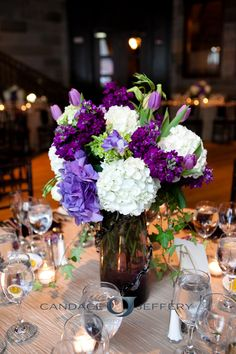 Purple and white hydrangea, stock, tulips, freesia, ivy