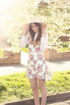 Jarlo White Floral Pinafore Look Floppy Hat Spring Style by What Olivia Did, via Flickr