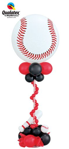 This #baseball Bubble Balloon centerpiece is perfect for a #sports-themed #party, and it can be customized for basketball or soccer too!