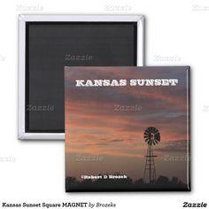 Kansas Sunset Square MAGNET