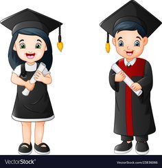 Cartoon boy and girl in graduation costume Vector Image Graduation Cartoon, Graduation Images, Graduation Cards Handmade, Cartoon Drawing For Kids, Cartoon Boy, Cartoon Drawings, Figura Iron Man, Graduation Wallpaper, Clown Crafts