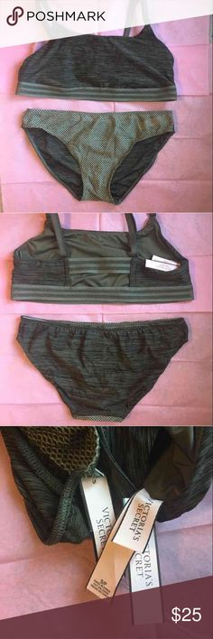 Victoria's Secret bralette and underwear set Victoria's Secret dark green bralette and bikini cut underwear. The bralette is a satin type fabric and is lightly lined. The straps are adjustable and there's a rectangle cut out in the back. The underwear are marled in the back and mesh in the front. Comes from a smoke free home. If you have any questions or need more pictures please ask! Victoria's Secret Intimates & Sleepwear Bras