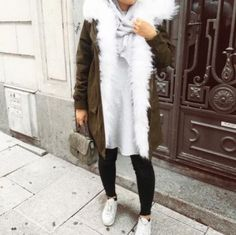 Furry olive coat with hijab-Hijab fashion style in winter – Just Trendy Girls