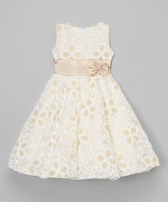 Kid Fashion Cream Embroidered A-Line Dress - Infant, Toddler & Girls Little Dresses, Little Girl Dresses, Cute Dresses, Girls Dresses, Flower Girl Dresses, Toddler Dress, Baby Dress, Infant Toddler, Toddler Girls