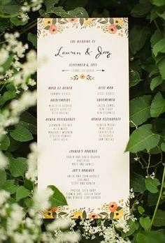 Brides.com: . Throwing an outdoor wedding? Consider something like this floral program. The girly design is offset with sleek black text — making it traditional and modern.