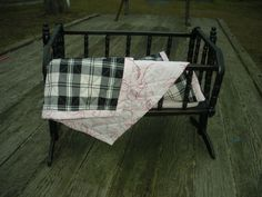 Vintage Baby Doll Cradle Bassinet Crib With Antique Distressed Finish
