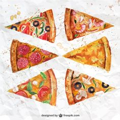 Fatias de pizza Watercolor