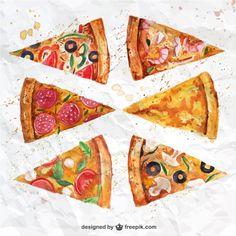Fatias de pizza Watercolor