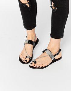d147453dcf95e7 ASOS FALSIFY Leather Chain Flat Sandals at asos.com