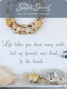 This easy to install wall decal reads: Life takes you down many paths, but my favorite ones lead to the beach... because it's die-cut, there is no background like other printed on clear stickers, so the results give a beautiful painted on look without the time, skill and mess that painted stencils require. Many sizes and colors to customize online to match your #beachhouse decor perfectly. #beachquotes #beach #ocean #beachquotes #beachdecor #beachhouse #beachhome #beachhousedecor #homedecor Inspirational Wall Quotes, Vinyl Wall Quotes, Vinyl Wall Decals, Nautical Quotes, Clear Stickers, Letter Wall, Custom Vinyl, Beach House Decor, Charcoal Gray