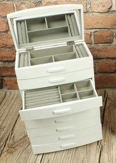Všetko pre modernú domácnosť | homedesignsk.sk - Šperkovnica drevo osempodlažná biela STANDARD