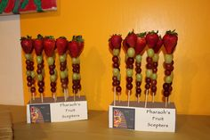 Pharaoh's Fruit Scepters for Egyptian-themed party