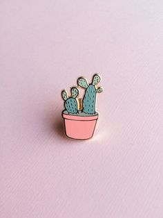Prickly Pear Cactus Hard Enamel Pin Small 24mm by justinegilbuena