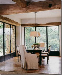 Wooden Beams and Steel Windows