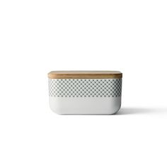 Box for Butter w. Lid, Grey Stitches , Menu
