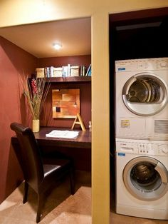 A surprisingly common companion to the laundry room is the home office. Designer Amy Bubier created a built-in desk nook on the other side of the concealed washer/dryer.