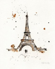 Eiffel Tower / Paris / mustard yellow and gray/yellow and grey romance watercolor print