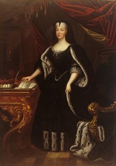 1720 Margravine Sibylla Augusta in an ermine cape by ? From Wikimedia; enlarged by half. Ferdinand, Wikimedia Commons, Victorian Era, 18th Century, Royalty, Painting, Collection, Regency, Baroque