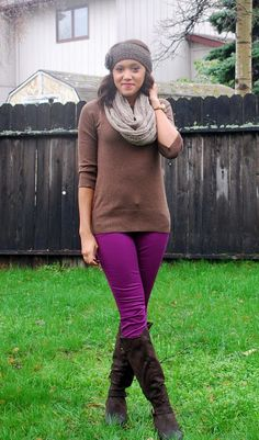 Colored jeans make a fall outfit so much more fun!