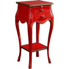 Fine Furniture Design Ferrari Red Accent Table ($805) ❤ liked on Polyvore featuring home, furniture, tables, accent tables, table, red shelving, shelf furniture, drawer shelves, ship furniture and red table