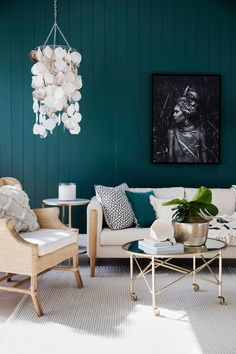 Bonnie's Dream Home - Guest Cottage Lounge Room - Feature Wall - March 16 2019 at Lounge Decor, My Living Room, Living Room Decor, Cottage Lounge, Three Birds Renovations, Bedroom Green, New Home Designs, Modern Interior Design, Interiores Design