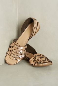 All Black Lattice D'Orsays Bronze Flats