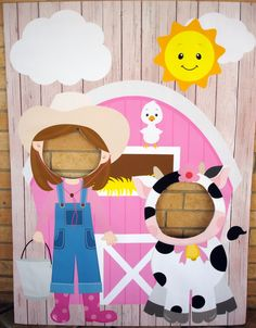 Fun photo op ideas for your next celebration. Farm Animal Birthday Party Backdrop/ Photo by SweetCarolinesStudio Más