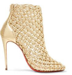 Christian Louboutin - Andaloulou 100 Metallic Leather Ankle Boots - Gold  Leather Ankle Boots, Heeled 8161612f02