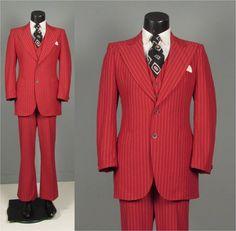 Vintage 1970s Mens Suit  Red Pinstripe Peaked by jauntyrooster