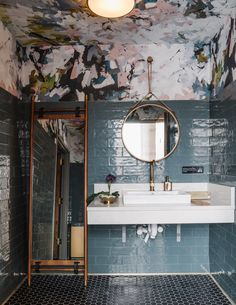 restaurant bathroom Atlantas Lazy Betty restaurant pairs industrial details and pops of teal Bad Inspiration, Decoration Inspiration, Bathroom Inspiration, Decor Ideas, Restaurant Bad, Restaurant Bathroom, Toilet Restaurant, Toilette Design, Restroom Design