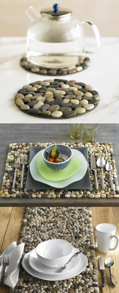 Glue stones onto felt to create a trivet, placemat, or table runner. http://www.diy-queen.com/2013/01/easy-stone-trivet/