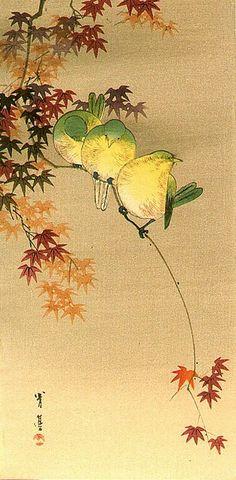 Seitei (Shotei) Watanabe 渡辺省亭 (Japan 1851-1918) Green Birds on Maple