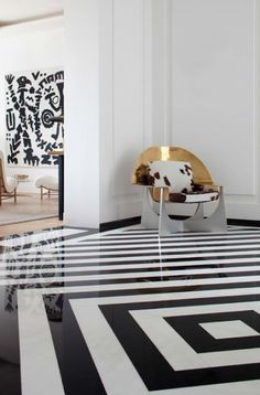 Fabulous floor | More here: http://mylusciouslife.com/colour-textiles-stripes-polka-dots-pom-poms/