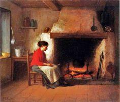 Platt Powell Ryder (American painter, 1821-1896) By the Hearth 1881