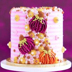 Gorgeous Cakes, Pretty Cakes, Halloween Snacks For Kids, Halloween Sweets, Halloween Birthday Cakes, Fall Cakes, Fall Color Palette, Dessert Decoration, Cute Desserts