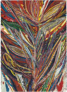 "Mark Grotjahn (American, Contemporary, b. 1968): Untitled (Standard Lotus No. II, Bird of Paradise, Tiger Mouth Face), 2012. Oil on cardboard mounted on canvas, 73 x 53-3/4 inches (185.4 x 136.5 cm). Private Collection.  'Visually reminiscent of the Cubist master [Picasso], Grotjahn's ""face"" paintings intermingle abstract and figurative renderings while dismantling and building on the conventions of modern and contemporary painting.'"