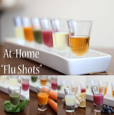 "At-Home Flu Shot Recipes: These six shots are made up of real food ingredients that boost your body's immune system to naturally ward off colds and flus. 1. ""Apple Cider Slammer"" 2. ""Green Machine"" 3. ""Cod Liver Kiss"" 4. ""Blueberry Blast"" 5. ""Carrot Kicker"" 6. ""Lemon & Ginger Drop"""